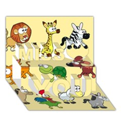 Group Of Animals Graphic Miss You 3d Greeting Card (7x5)
