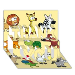 Group Of Animals Graphic Thank You 3d Greeting Card (7x5)