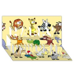 Group Of Animals Graphic Happy New Year 3d Greeting Card (8x4)