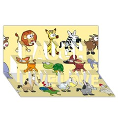 Group Of Animals Graphic Laugh Live Love 3d Greeting Card (8x4)