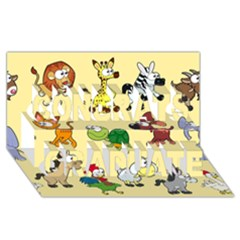 Group Of Animals Graphic Congrats Graduate 3D Greeting Card (8x4)