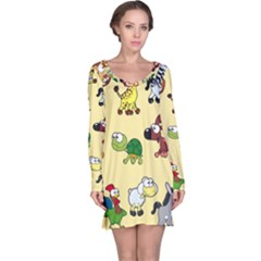 Group Of Animals Graphic Long Sleeve Nightdress