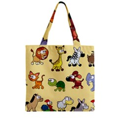 Group Of Animals Graphic Zipper Grocery Tote Bag