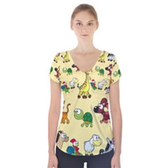 Group Of Animals Graphic Short Sleeve Front Detail Top