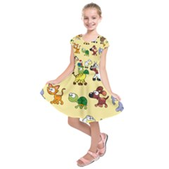 Group Of Animals Graphic Kids  Short Sleeve Dress