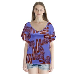 Ikat Sticks Flutter Sleeve Top