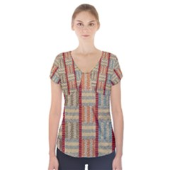 Fabric Pattern Short Sleeve Front Detail Top