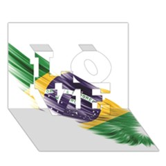 Flag Of Brazil LOVE 3D Greeting Card (7x5)