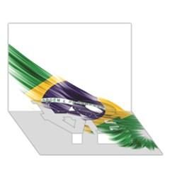 Flag Of Brazil Love Bottom 3d Greeting Card (7x5)