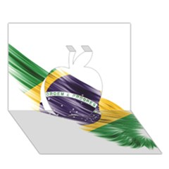 Flag Of Brazil Apple 3d Greeting Card (7x5)