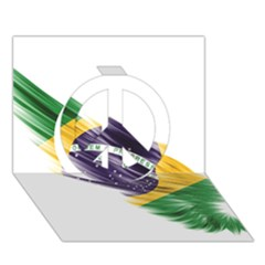 Flag Of Brazil Peace Sign 3D Greeting Card (7x5)