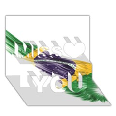 Flag Of Brazil Miss You 3d Greeting Card (7x5)