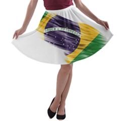 Flag Of Brazil A Line Skater Skirt