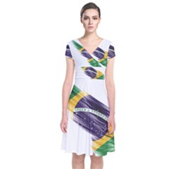 Flag Of Brazil Short Sleeve Front Wrap Dress