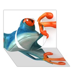 Tree Frog Illustration Circle 3D Greeting Card (7x5)