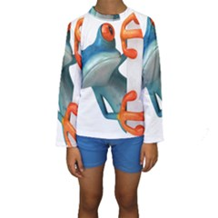 Tree Frog Illustration Kids  Long Sleeve Swimwear
