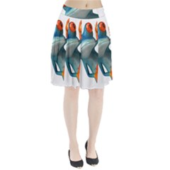 Tree Frog Illustration Pleated Skirt