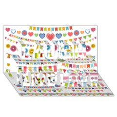 Owl Pattern Laugh Live Love 3D Greeting Card (8x4)