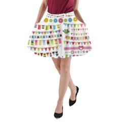 Owl Pattern A Line Pocket Skirt