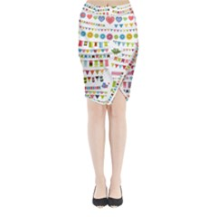 Owl Pattern Midi Wrap Pencil Skirt