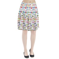 Owl Pattern Pleated Skirt