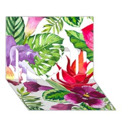 Vector Pattern Tropical I Love You 3d Greeting Card (7x5)