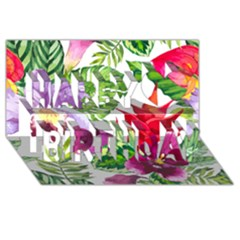 Vector Pattern Tropical Happy Birthday 3d Greeting Card (8x4)