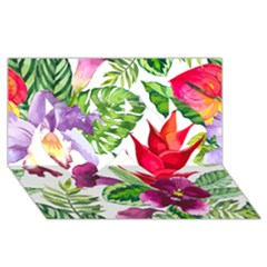 Vector Pattern Tropical Twin Hearts 3d Greeting Card (8x4)
