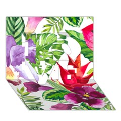 Vector Pattern Tropical Love 3d Greeting Card (7x5)