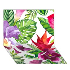 Vector Pattern Tropical Heart Bottom 3D Greeting Card (7x5)