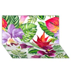 Vector Pattern Tropical Twin Heart Bottom 3d Greeting Card (8x4)