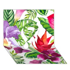 Vector Pattern Tropical Ribbon 3d Greeting Card (7x5)