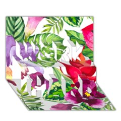 Vector Pattern Tropical Work Hard 3d Greeting Card (7x5)