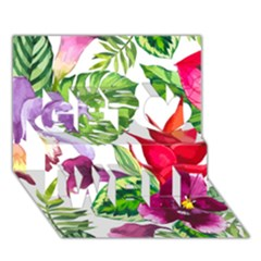 Vector Pattern Tropical Get Well 3d Greeting Card (7x5)