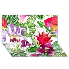 Vector Pattern Tropical Merry Xmas 3d Greeting Card (8x4)