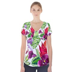 Vector Pattern Tropical Short Sleeve Front Detail Top