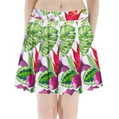 Vector Pattern Tropical Pleated Mini Skirt