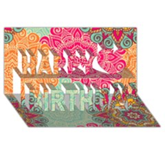 Art Abstract Pattern Happy Birthday 3D Greeting Card (8x4)