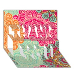 Art Abstract Pattern Thank You 3d Greeting Card (7x5)
