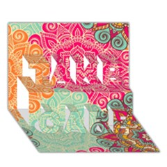 Art Abstract Pattern TAKE CARE 3D Greeting Card (7x5)