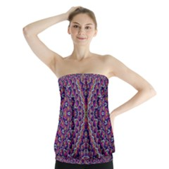 Purple Dotted Mosaic Strapless Top