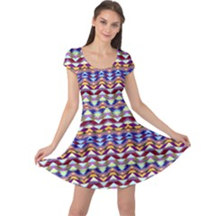 Ethnic Colorful Pattern Cap Sleeve Dresses