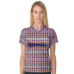 Ethnic Colorful Pattern Women s V Neck Sport Mesh Tee