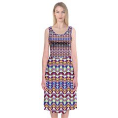 Ethnic Colorful Pattern Midi Sleeveless Dress