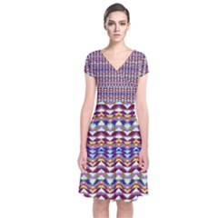 Ethnic Colorful Pattern Short Sleeve Front Wrap Dress