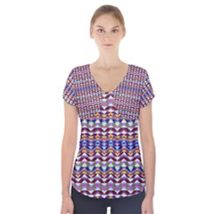 Ethnic Colorful Pattern Short Sleeve Front Detail Top