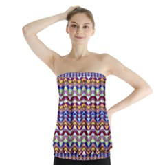 Ethnic Colorful Pattern Strapless Top