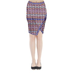 Ethnic Colorful Pattern Midi Wrap Pencil Skirt