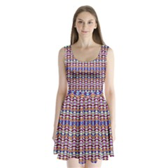 Ethnic Colorful Pattern Split Back Mini Dress