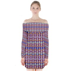 Ethnic Colorful Pattern Long Sleeve Off Shoulder Dress